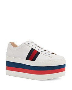 Gucci - Women's Peggy Platform Low Top Lace Up Sneakers
