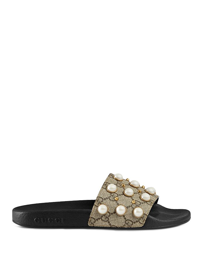 ccacf3f3f Gucci Women's Pursuit Pearl Stud Pool Slide Sandals | Bloomingdale's