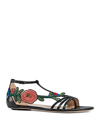 Gucci - Women's Ophelia Embroidered T Strap Sandals