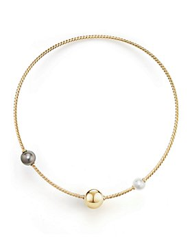David Yurman - Solari Single Row Cable Necklace with Tahitian Gray Pearl and South Sea White Pearl in 18K Gold