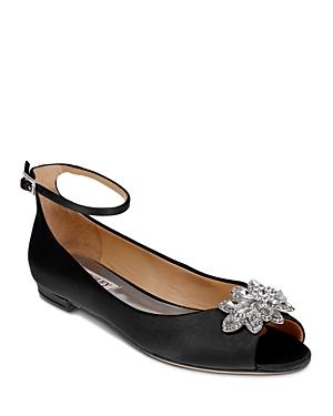 Badgley Mischka Kaidence Embellished Peep Toe Ankle Strap Flats