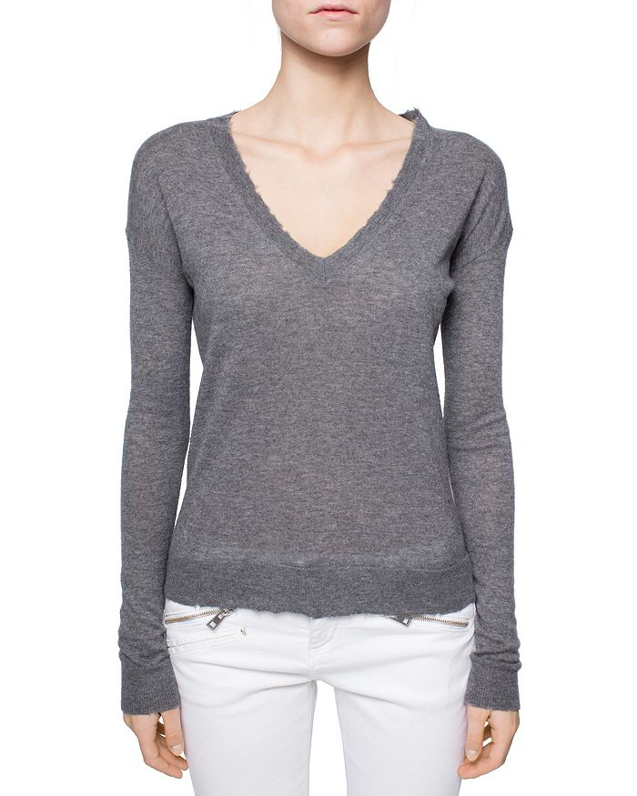 Zadig & Voltaire Happy Cashmere Sweater In Light Gray