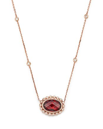 "Bloomingdale's - Garnet and Diamond Oval Pendant Necklace in 14K Rose Gold, 16"" - 100% Exclusive"