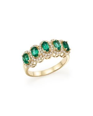 Emerald and Diamond Statement Ring in 14K Yellow Gold - 100% Exclusive