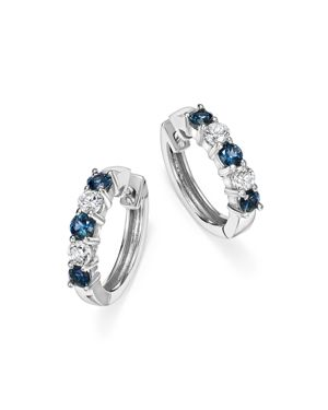 Sapphire and Diamond Hoop Earrings in 14K White Gold - 100% Exclusive