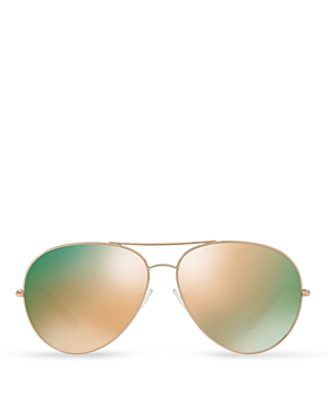 Oliver Peoples Sayer Square Aviator Mirrored Sunglasses, 63mm
