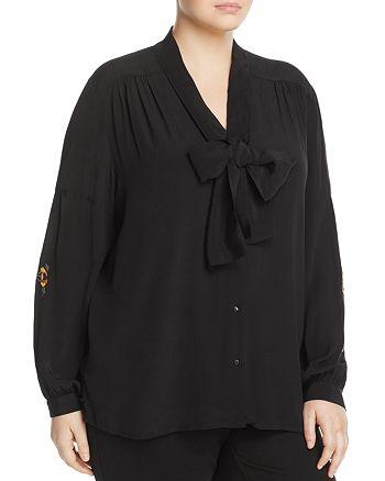 Marina Rinaldi - Banchisa Embroidered Tie-Neck Blouse
