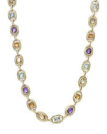 """Bloomingdale's - Multi Gemstone Geometric Necklace in 14K Yellow Gold, 17"""" - 100% Exclusive"""