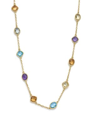 Multi Gemstone Beaded Necklace in 14K Yellow Gold, 17 - 100% Exclusive