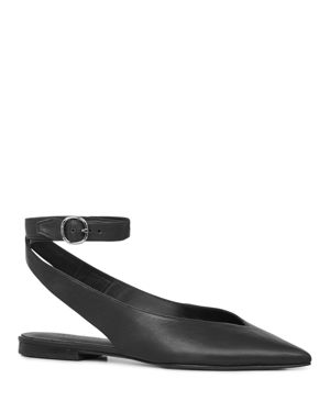 Allsaints Cory Leather Pointed Toe Slingback Flats