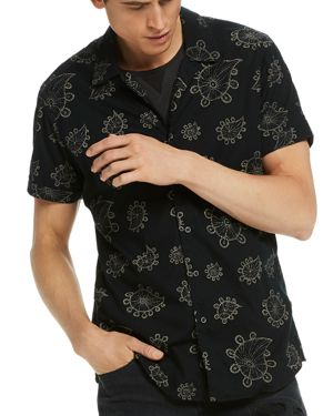 Scotch & Soda Paisley Print Regular Fit Button-Down Shirt