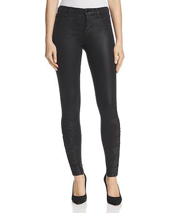 J Brand - 620 Coated Mid Rise Super Skinny Jeans in Black