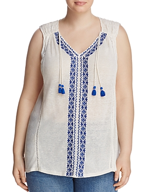 Lucky Brand Plus Embroidered Tassel Tank