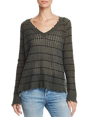 Minnie Rose Distressed Striped Cashmere Sweater at Bloomingdale's