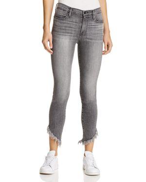Frame Le High Shredded Hem Skinny Jeans in Berwick