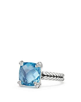 David Yurman - Châtelaine® Ring with Blue Topaz and Diamonds