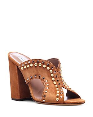 Tabitha Simmons Celia Studded Suede Cutout Slide Sandals