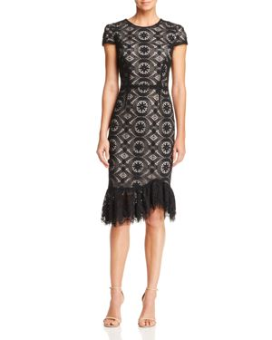 Betsey Johnson Ruffle-Hem Lace Dress