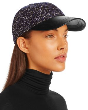 August Hat Company Boucle & Faux-Leather Baseball Cap