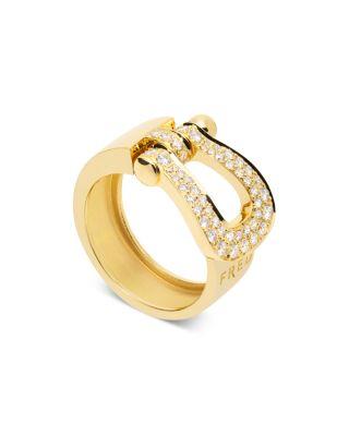 FRED 18K YELLOW GOLD FORCE 10 DIAMOND LARGE RIBBON RING