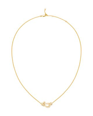 FRED 18K YELLOW GOLD FORCE 10 PAVE DIAMOND MEDIUM BUCKLE PENDANT NECKLACE, 16