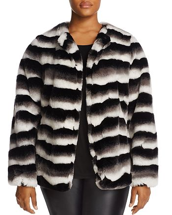 JUNAROSE Plus - Faux-Fur Stripe Jacket