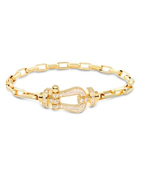 Fred - 18K Yellow Gold Force 10 Large Link Bracelet with 18K Yellow Gold Diamond Buckle