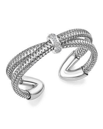 Roberto Coin - 18K White Gold Primavera Diamond Cuff Bracelet - 100% Exclusive