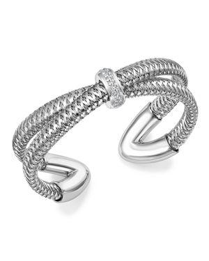 Roberto Coin 18K White Gold Primavera Diamond Cuff Bracelet - 100% Exclusive