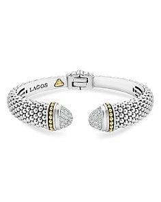 LAGOS 18K Gold and Sterling Silver Caviar Diamond Cuff Bracelets - Bloomingdale's_0