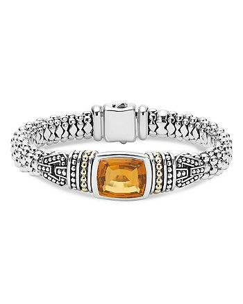 LAGOS - 18K Gold and Sterling Silver Caviar Color Bracelet with Citrine