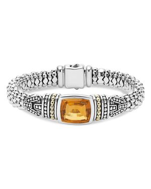 Lagos 18K Gold and Sterling Silver Caviar Color Bracelet with Citrine