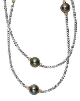 LAGOS - 18K Gold and Sterling Silver Luna Cultured Tahitian Pearl Rope Necklace, 34""
