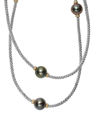 Lagos 18K Gold and Sterling Silver Luna Cultured Tahitian Pearl Rope Necklace, 34