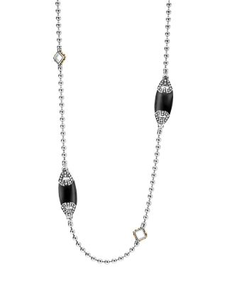 18K Gold And Sterling Silver Caviar Color Onyx Station Necklace, 34, Black/Silver