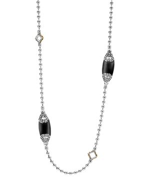Lagos 18K Gold and Sterling Silver Caviar Color Onyx Station Necklace, 34