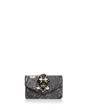 Sondra Roberts Embellished Embossed Leather Clutch 2668307