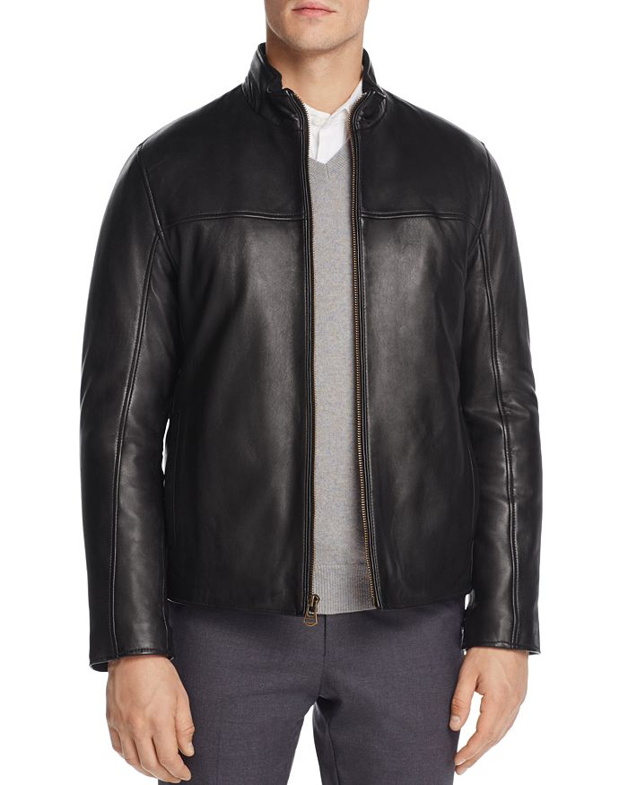 Cole Haan - Zip-Front Leather Jacket