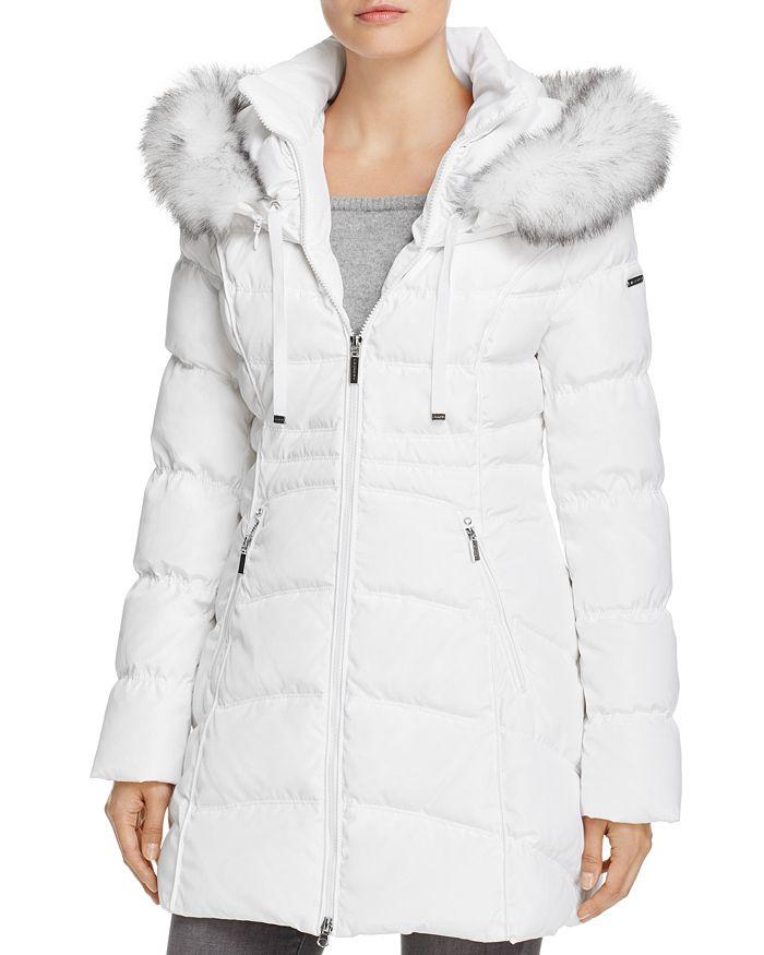 Laundry By Shelli Segal Windbreaker Faux Fur Trim Puffer Coat