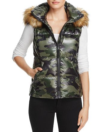 AQUA - Faux Fur-Trim Camo Puffer Vest - 100% Exclusive