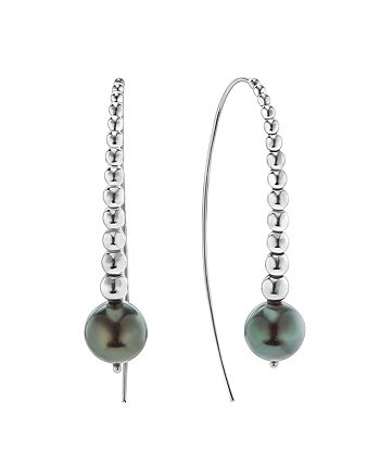 LAGOS - Sterling Silver Signature Caviar Cultured Tahitian Black Pearl Linear Drop Earrings