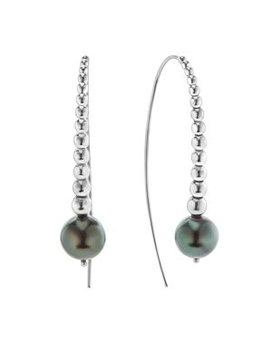 Lagos Sterling Silver Signature Caviar Cultured Tahitian Black Pearl Linear Drop Earrings