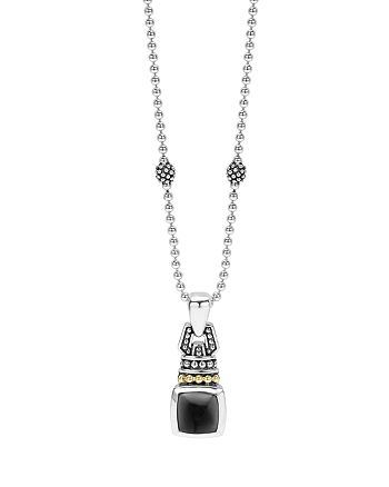 """LAGOS - 18K Gold and Sterling Silver Caviar Color Necklace with Onyx, 16"""""""