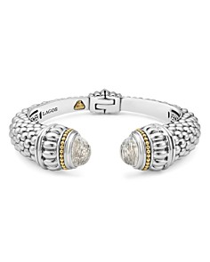 LAGOS - Sterling Silver & 18K Yellow Gold Caviar Large Cuff Bracelet with White Topaz