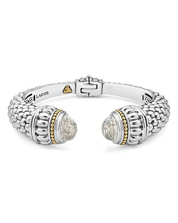 LAGOS - 18K Gold and Sterling Silver Caviar Color White Topaz Cuff, 14mm