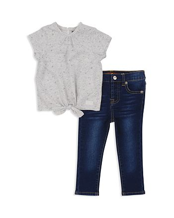 7 For All Mankind - Girls' Tie-Front Tee & Skinny Jeans - Baby