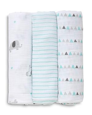 Little Me Infant Boys' Safari Swaddle Blankets, 3-Pack