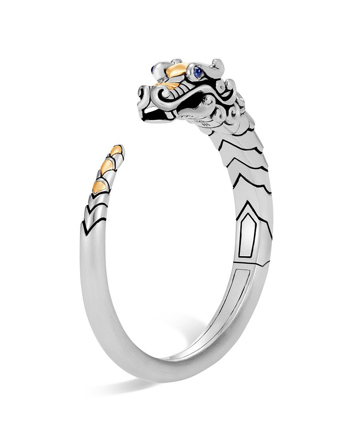 JOHN HARDY - Brushed 18K Yellow Gold and Sterling Silver Legends Naga Small Kick Cuff with Sapphire Eyes