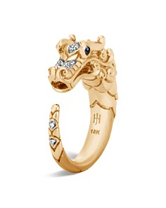 JOHN HARDY - 18K Yellow Gold Legends Naga Ring with Diamond and Sapphire