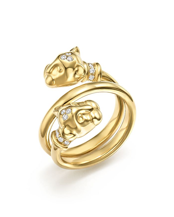 Temple St. Clair - 18K Yellow Gold Double Wrap Lion Cub Diamond Ring
